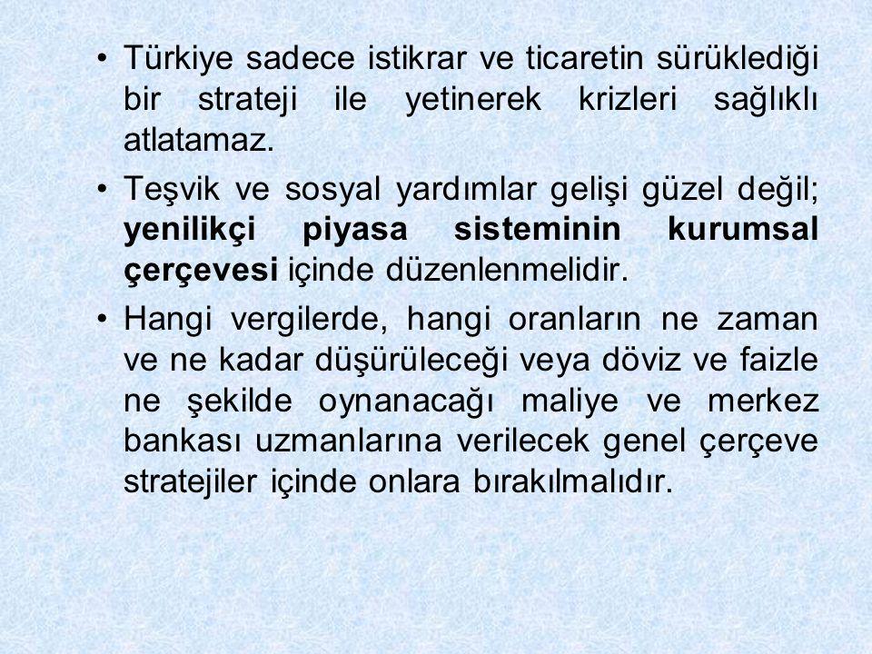 Türkiye sadece istikrar ve ticaretin sürüklediği bir strateji ile yetinerek krizleri sağlıklı atlatamaz. Teşvik ve sosyal yardımlar gelişi güzel değil