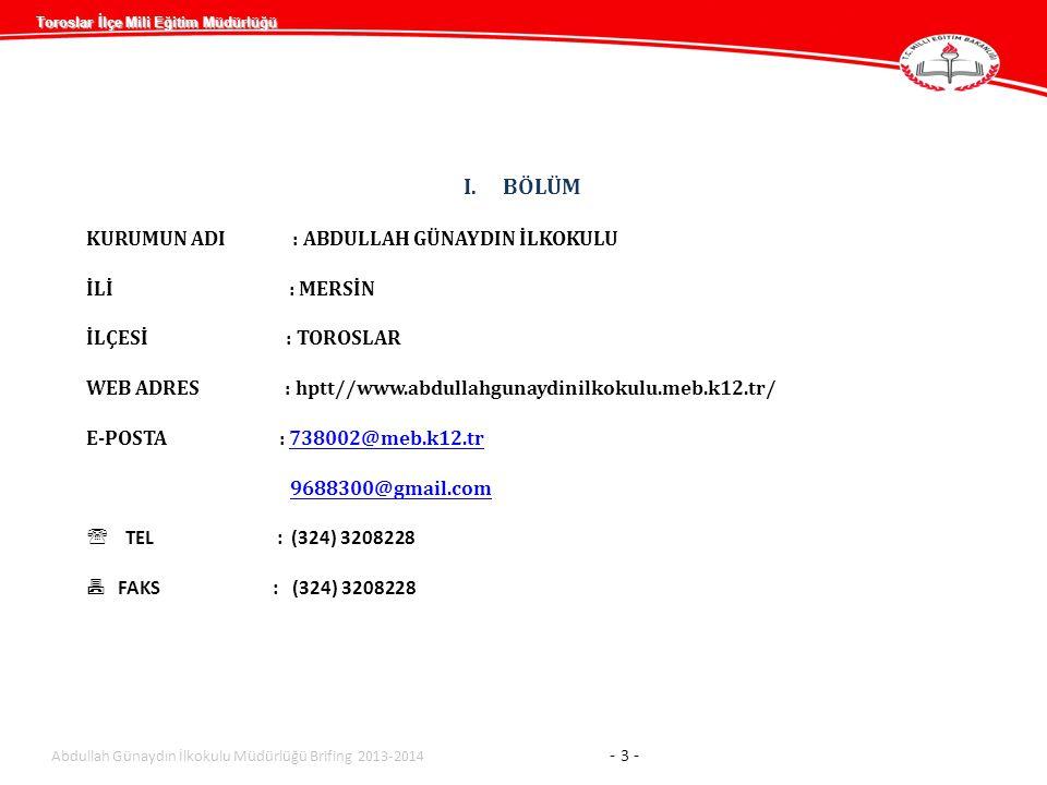 Toroslar İlçe Mili Eğitim Müdürlüğü YÜRÜTÜLEN PROJELER Abdullah Günaydın İlkokulu Müdürlüğü Brifing 2013-2014 - 14 - 2012-2013 EĞİTİM ÖĞRETİM YILI2013-2014 EĞİTİM ÖĞRETİM YILI PROJE ADIBiten Projeler Devam Eden Projeler Biten Projeler Devam Eden Projeler MAHALLEMİZ AYDINLANIYOR1 AÇIK OKUL PROJESİ1 TOPLAM11