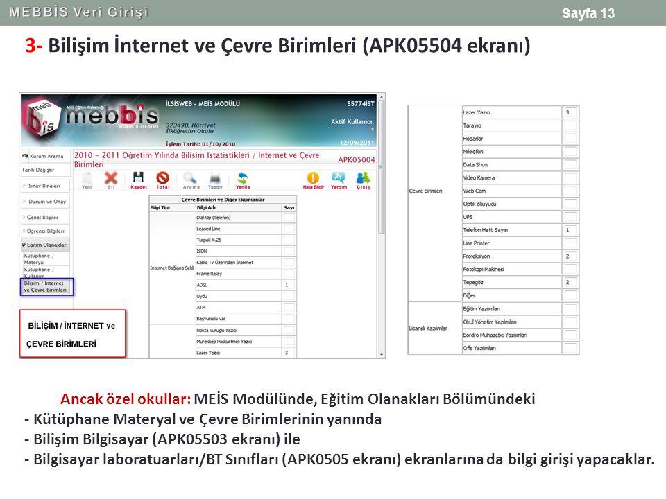 3- Bilişim İnternet ve Çevre Birimleri (APK05504 ekranı) Ancak özel okullar: MEİS Modülünde, Eğitim Olanakları Bölümündeki - Kütüphane Materyal ve Çev