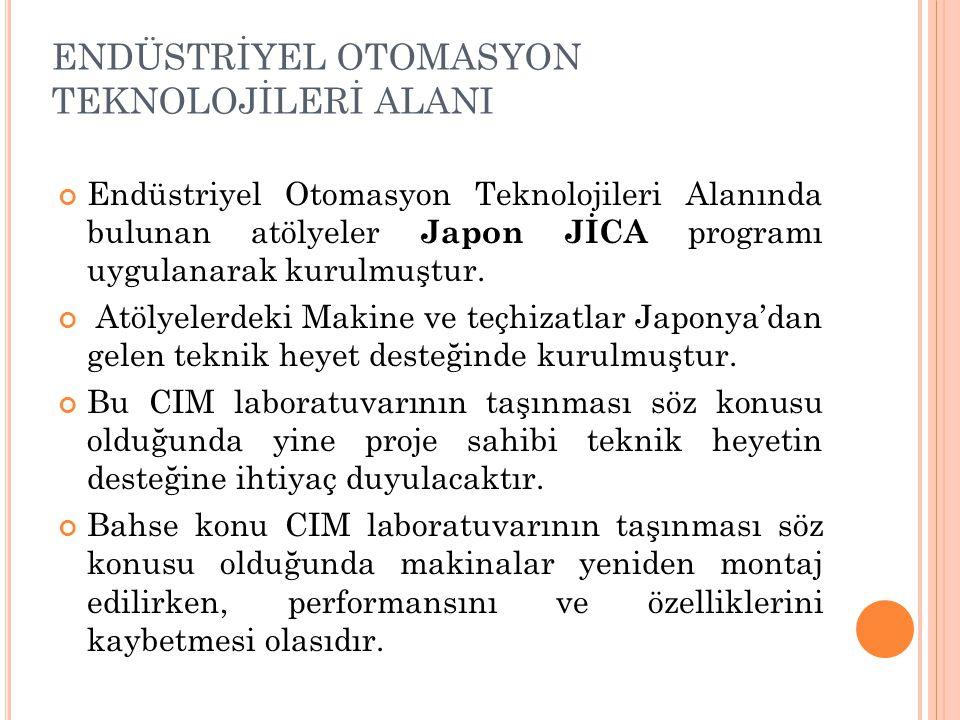 ENDÜSTRİYEL OTOMASYON TEKNOLOJİLERİ ALANI Endüstriyel Otomasyon Teknolojileri Alanında bulunan atölyeler Japon JİCA programı uygulanarak kurulmuştur.