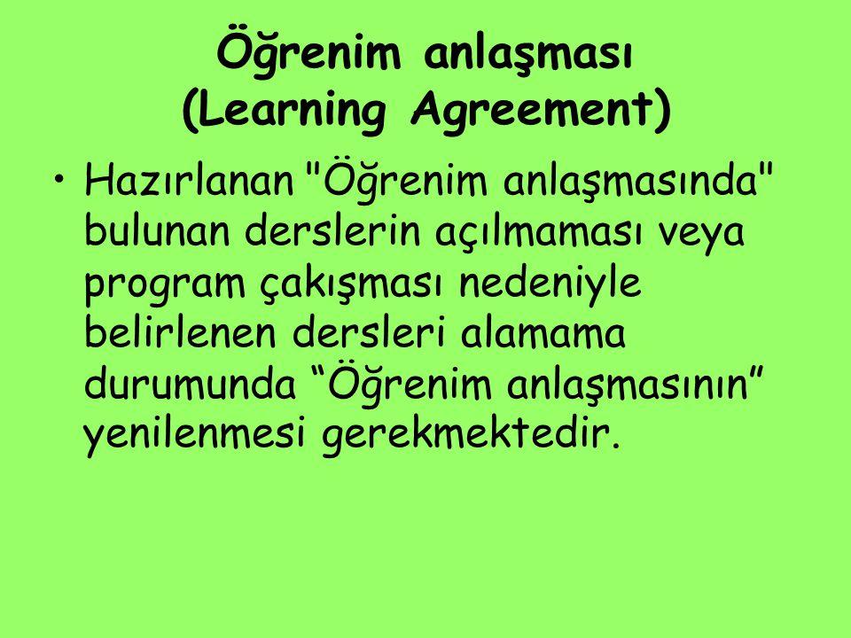 Öğrenim anlaşması (Learning Agreement) Hazırlanan
