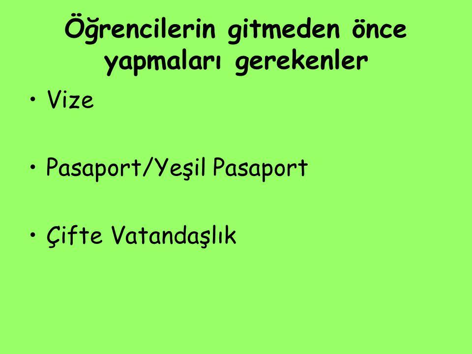 Öğrencilerin gitmeden önce yapmaları gerekenler Vize Pasaport/Yeşil Pasaport Çifte Vatandaşlık