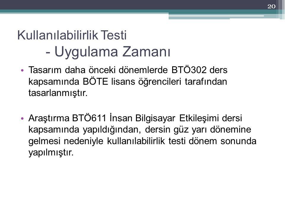 Kullanılabilirlik Testi - Uygulama Zamanı Tasarım daha önceki dönemlerde BTÖ302 ders kapsamında BÖTE lisans öğrencileri tarafından tasarlanmıştır. Ara