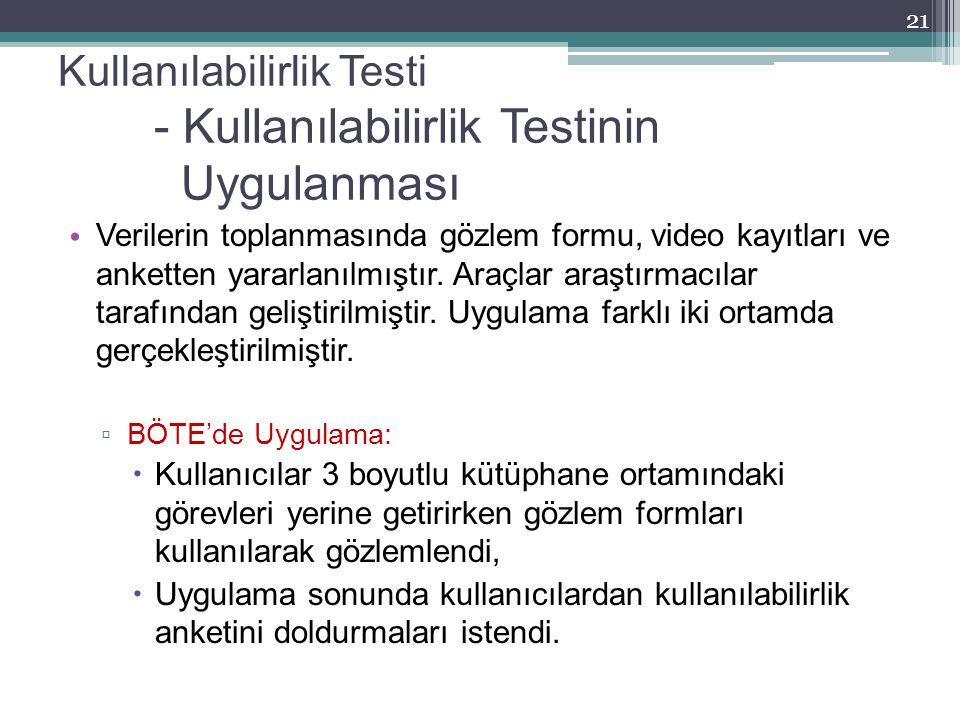 Kullanılabilirlik Testi - Kullanılabilirlik Testinin Uygulanması Verilerin toplanmasında gözlem formu, video kayıtları ve anketten yararlanılmıştır. A