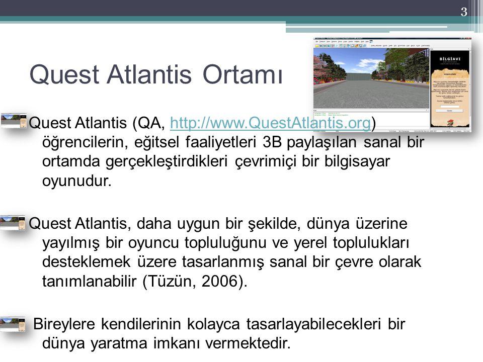 Quest Atlantis Ortamı Quest Atlantis (QA, http://www.QuestAtlantis.org) öğrencilerin, eğitsel faaliyetleri 3B paylaşılan sanal bir ortamda gerçekleşti