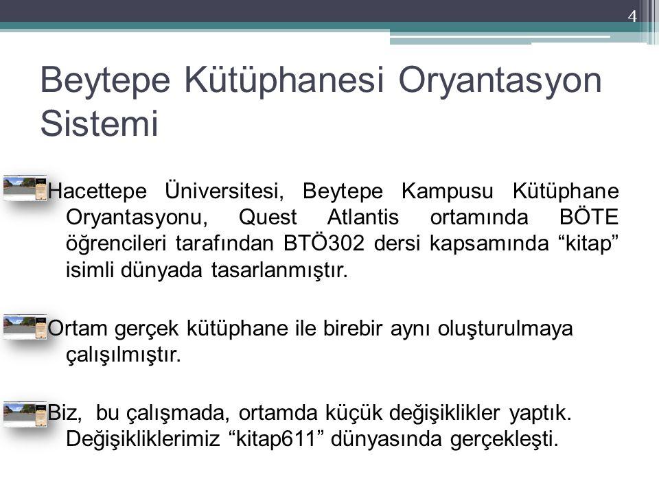 Beytepe Kütüphanesi Oryantasyon Sistemi Hacettepe Üniversitesi, Beytepe Kampusu Kütüphane Oryantasyonu, Quest Atlantis ortamında BÖTE öğrencileri tara