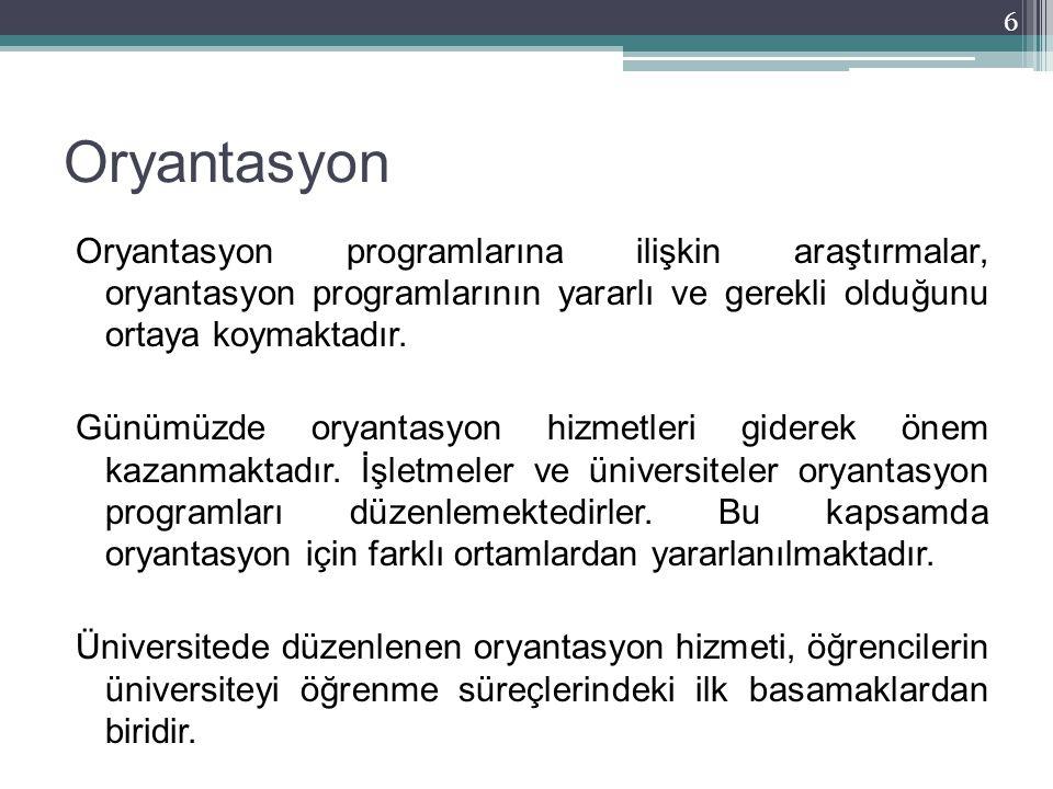 Oryantasyon Oryantasyon programlarına ilişkin araştırmalar, oryantasyon programlarının yararlı ve gerekli olduğunu ortaya koymaktadır. Günümüzde oryan