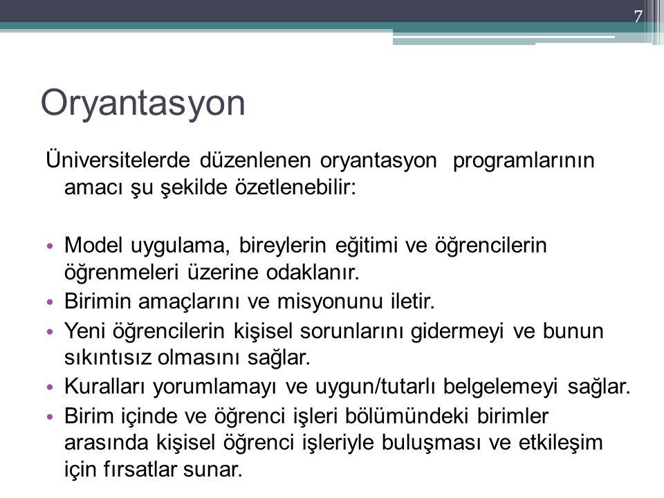 Oryantasyon Üniversitelerde düzenlenen oryantasyon programlarının amacı şu şekilde özetlenebilir: Model uygulama, bireylerin eğitimi ve öğrencilerin ö
