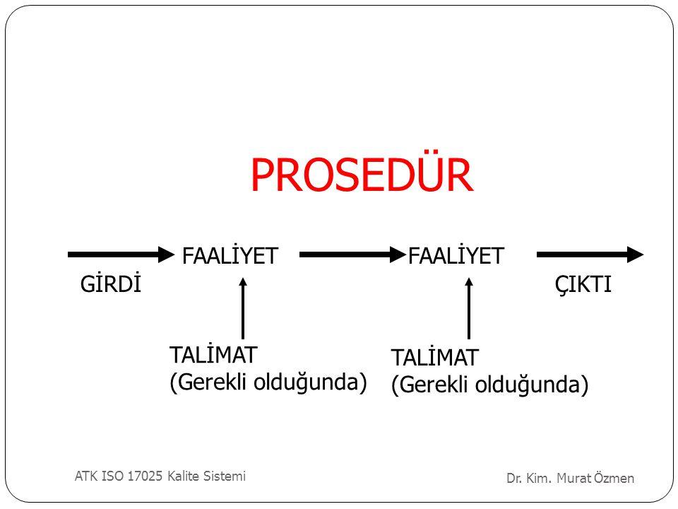 PROSEDÜR GİRDİ FAALİYET ÇIKTI TALİMAT (Gerekli olduğunda) TALİMAT (Gerekli olduğunda) Dr. Kim. Murat Özmen ATK ISO 17025 Kalite Sistemi