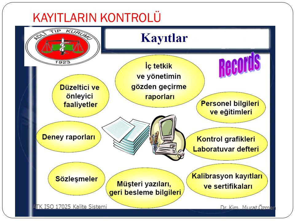 KAYITLARIN KONTROLÜ Dr. Kim. Murat Özmen ATK ISO 17025 Kalite Sistemi
