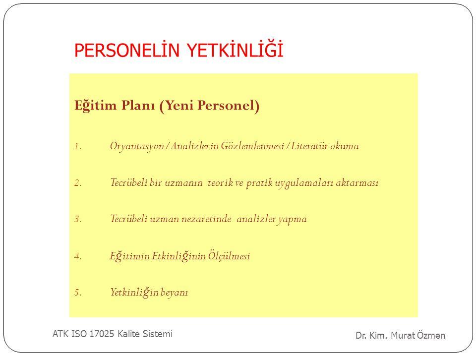 Dr. Kim. Murat Özmen ATK ISO 17025 Kalite Sistemi E ğ itim Planı (Yeni Personel) 1. Oryantasyon/Analizlerin Gözlemlenmesi/Literatür okuma 2. Tecrübeli