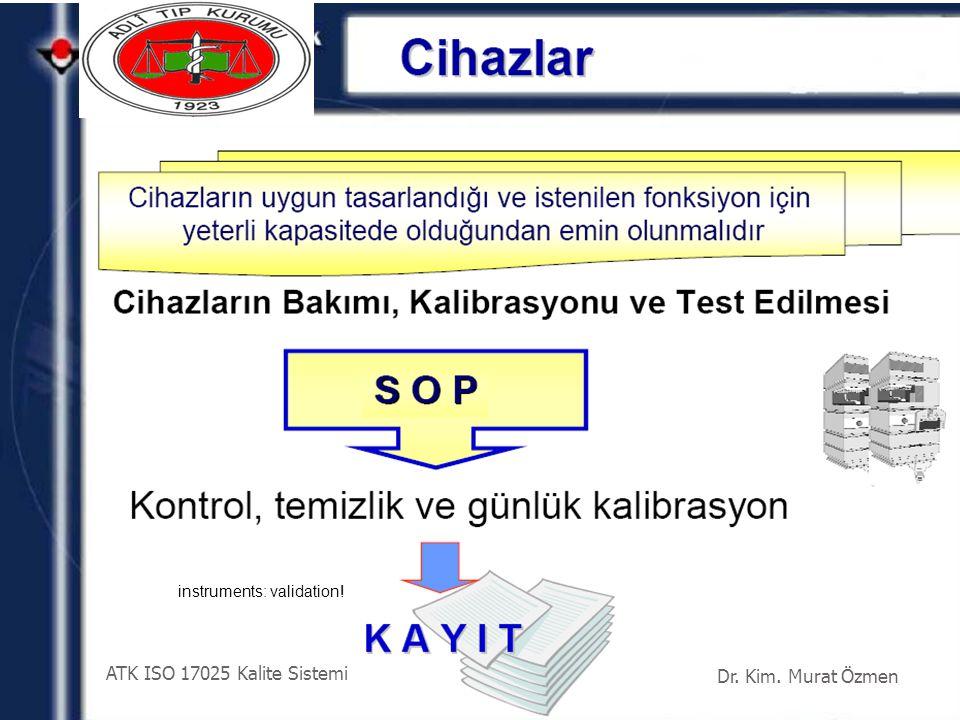 instruments: validation! Dr. Kim. Murat Özmen ATK ISO 17025 Kalite Sistemi
