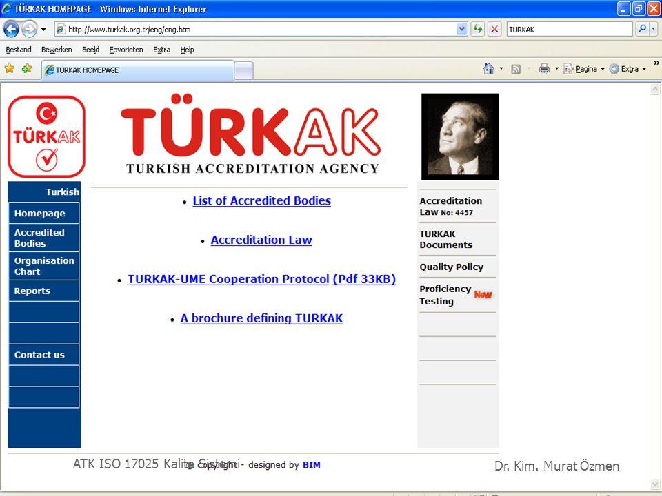RvA Dr. Kim. Murat Özmen ATK ISO 17025 Kalite Sistemi