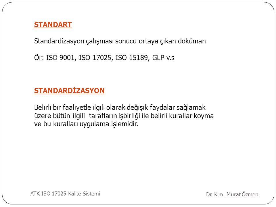 STANDART Standardizasyon çalışması sonucu ortaya çıkan doküman Ör: ISO 9001, ISO 17025, ISO 15189, GLP v.s STANDARDİZASYON Belirli bir faaliyetle ilgi
