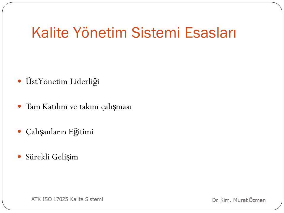 Dr.Kim. Murat Özmen ATK ISO 17025 Kalite Sistemi E ğ itim Planı (Yeni Personel) 1.