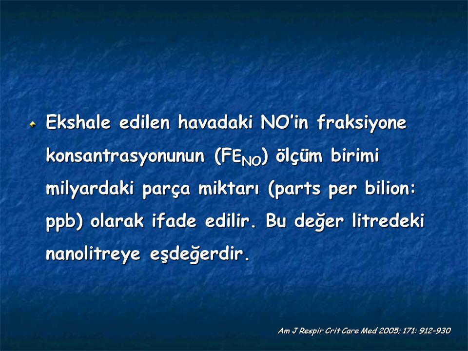 Ekshale edilen havadaki NO'in fraksiyone konsantrasyonunun (F E NO ) ölçüm birimi milyardaki parça miktarı (parts per bilion: ppb) olarak ifade edilir.