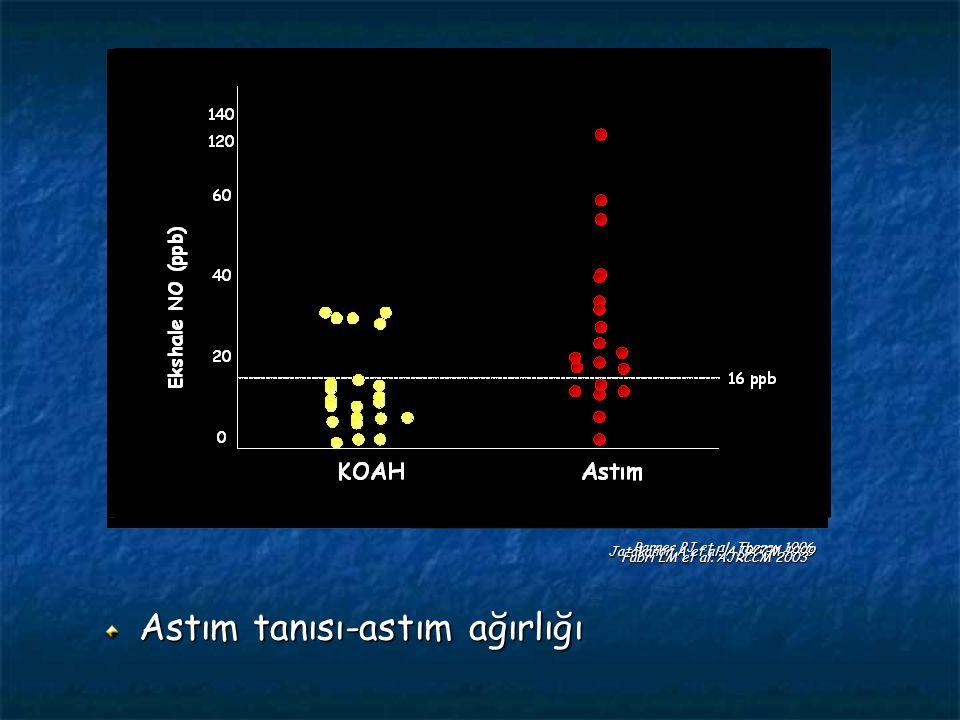 Astım tanısı-astım ağırlığı Barnes PJ et al. Thorax 1996 Jatakanon A et al. AJRCCM 1999 Fabri LM et al. AJRCCM 2003