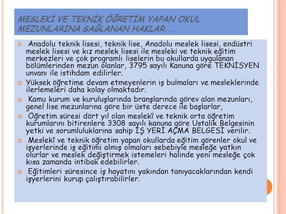 İ ŞLETMELERDE M ESLEK E ĞITIMI G ÖREN Ö ĞRENCILER...