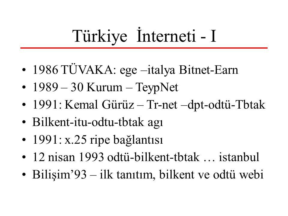 Türkiye İnterneti - I 1986 TÜVAKA: ege –italya Bitnet-Earn 1989 – 30 Kurum – TeypNet 1991: Kemal Gürüz – Tr-net –dpt-odtü-Tbtak Bilkent-itu-odtu-tbtak