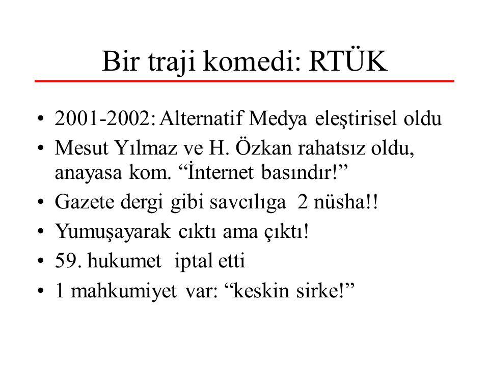 """Bir traji komedi: RTÜK 2001-2002: Alternatif Medya eleştirisel oldu Mesut Yılmaz ve H. Özkan rahatsız oldu, anayasa kom. """"İnternet basındır!"""" Gazete d"""