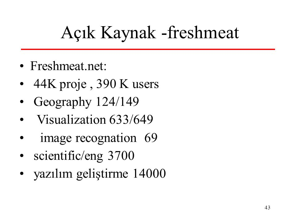 44 Açık Kaynak - sf.net 160K proje, 1.7M users scientific/eng 18K education 6000 yazılım geliştirme 35K GIS - 731 earth sciences 296 information analysis 1420 matematik 2200