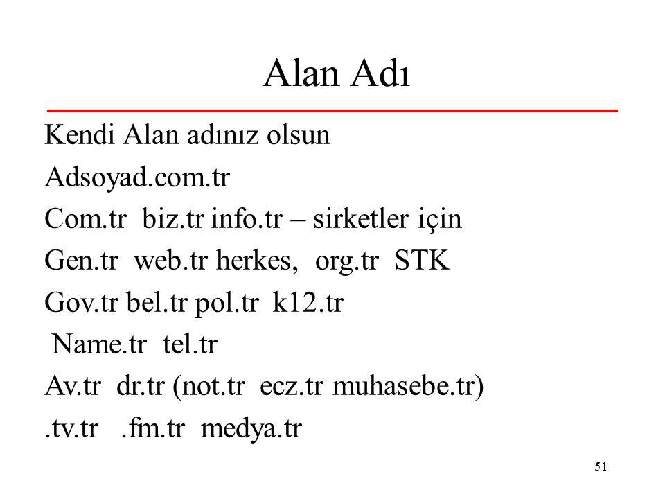 51 Alan Adı Kendi Alan adınız olsun Adsoyad.com.tr Com.tr biz.tr info.tr – sirketler için Gen.tr web.tr herkes, org.tr STK Gov.tr bel.tr pol.tr k12.tr