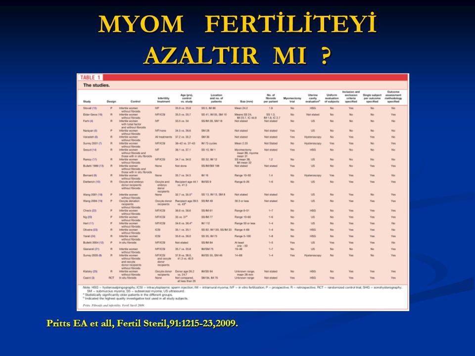 MYOM FERTİLİTEYİ AZALTIR MI ? Pritts EA et all, Fertil Steril,91:1215-23,2009.
