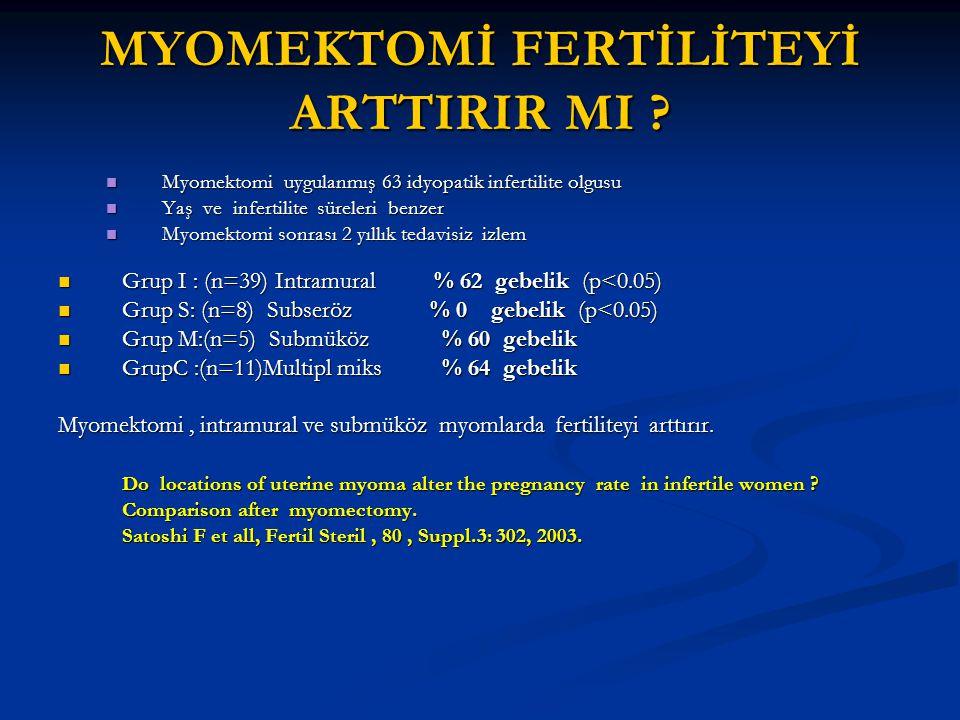 MYOMEKTOMİ FERTİLİTEYİ ARTTIRIR MI ? Myomektomi uygulanmış 63 idyopatik infertilite olgusu Myomektomi uygulanmış 63 idyopatik infertilite olgusu Yaş v