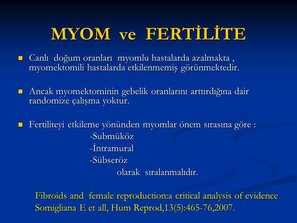 MYOM ve FERTİLİTE Canlı doğum oranları myomlu hastalarda azalmakta, myomektomili hastalarda etkilenmemiş görünmektedir. Canlı doğum oranları myomlu ha