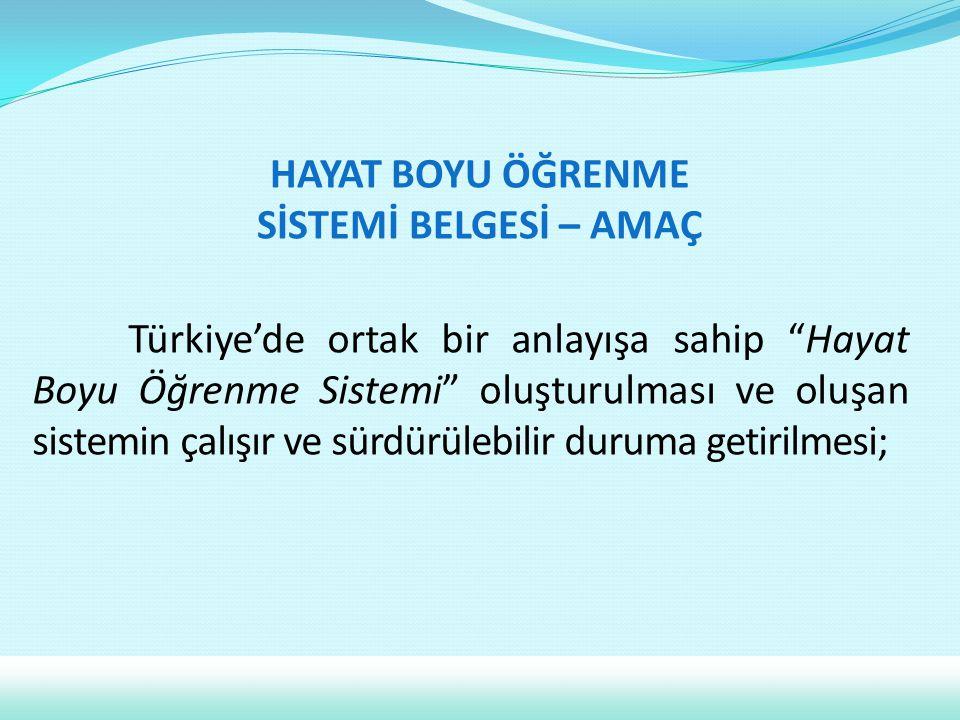 """Türkiye'de ortak bir anlayışa sahip """"Hayat Boyu Öğrenme Sistemi"""" oluşturulması ve oluşan sistemin çalışır ve sürdürülebilir duruma getirilmesi; HAYAT"""