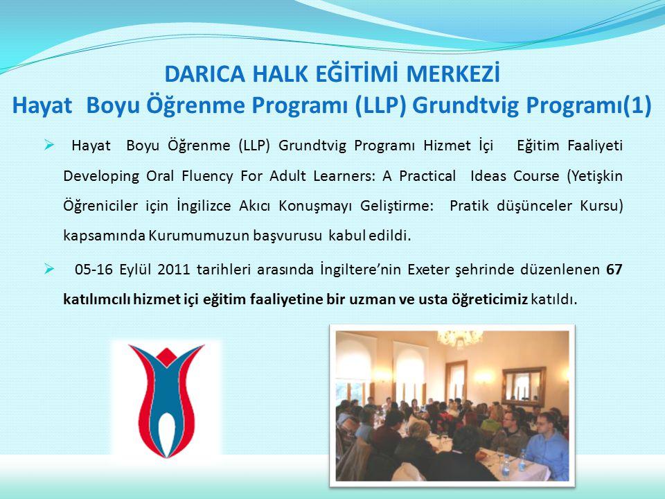 DARICA HALK EĞİTİMİ MERKEZİ Hayat Boyu Öğrenme Programı (LLP) Grundtvig Programı(1)  Hayat Boyu Öğrenme (LLP) Grundtvig Programı Hizmet İçi Eğitim Fa