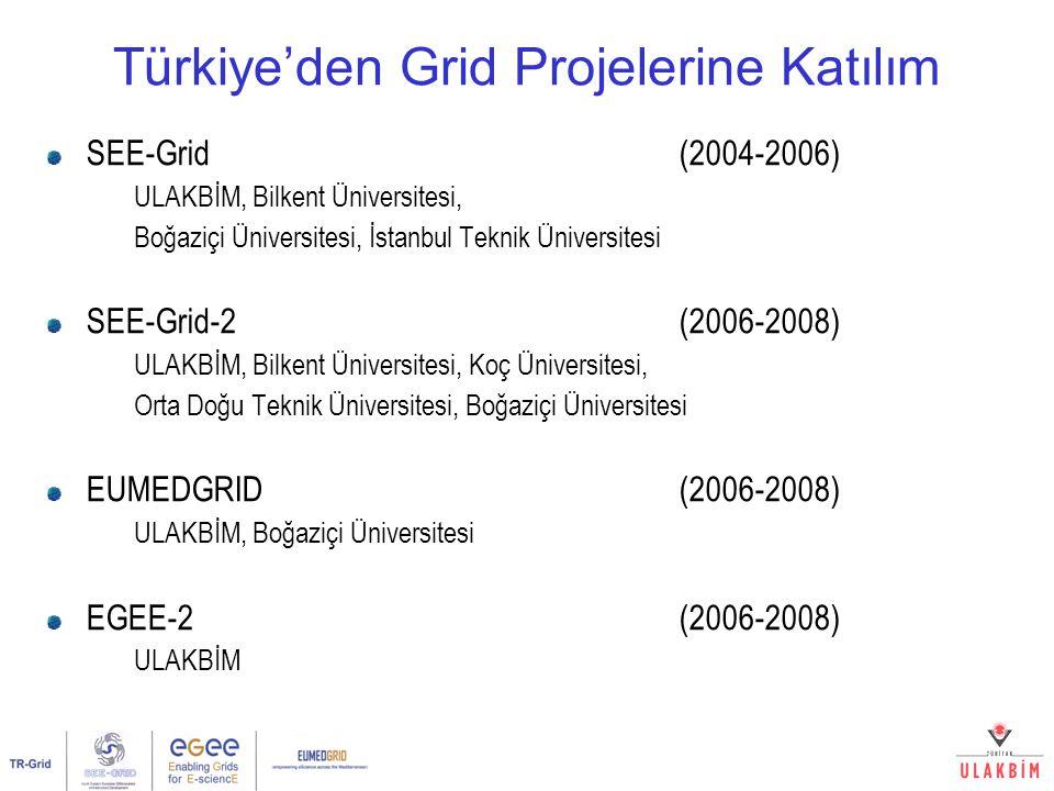 Türkiye'den Grid Projelerine Katılım SEE-Grid (2004-2006) ULAKBİM, Bilkent Üniversitesi, Boğaziçi Üniversitesi, İstanbul Teknik Üniversitesi SEE-Grid-2 (2006-2008) ULAKBİM, Bilkent Üniversitesi, Koç Üniversitesi, Orta Doğu Teknik Üniversitesi, Boğaziçi Üniversitesi EUMEDGRID (2006-2008) ULAKBİM, Boğaziçi Üniversitesi EGEE-2 (2006-2008) ULAKBİM