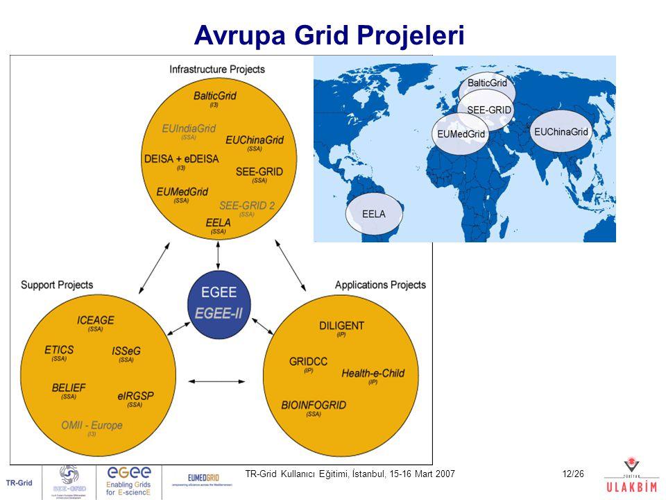 TR-Grid Kullanıcı Eğitimi, İstanbul, 15-16 Mart 200712/26 Avrupa Grid Projeleri