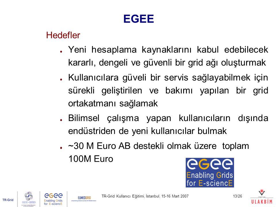 TR-Grid Kullanıcı Eğitimi, İstanbul, 15-16 Mart 200713/26 EGEE Hedefler Yeni hesaplama kaynaklarını kabul edebilecek kararlı, dengeli ve güvenli bir grid ağı oluşturmak Kullanıcılara güveli bir servis sağlayabilmek için sürekli geliştirilen ve bakımı yapılan bir grid ortakatmanı sağlamak Bilimsel çalışma yapan kullanıcıların dışında endüstriden de yeni kullanıcılar bulmak ~30 M Euro AB destekli olmak üzere toplam 100M Euro