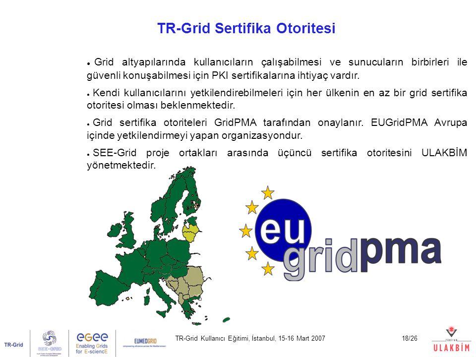 TR-Grid Kullanıcı Eğitimi, İstanbul, 15-16 Mart 200718/26 TR-Grid Sertifika Otoritesi Yrd. Doç. Dr. Erol Şahin Orta Doğu Teknik Üniversitesi Bilgisaya