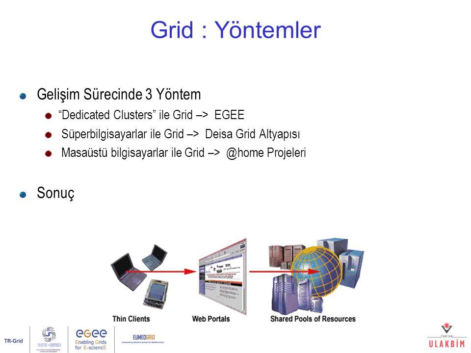 Grid : Yöntemler Gelişim Sürecinde 3 Yöntem Dedicated Clusters ile Grid –> EGEE Süperbilgisayarlar ile Grid –> Deisa Grid Altyapısı Masaüstü bilgisayarlar ile Grid –> @home Projeleri Sonuç