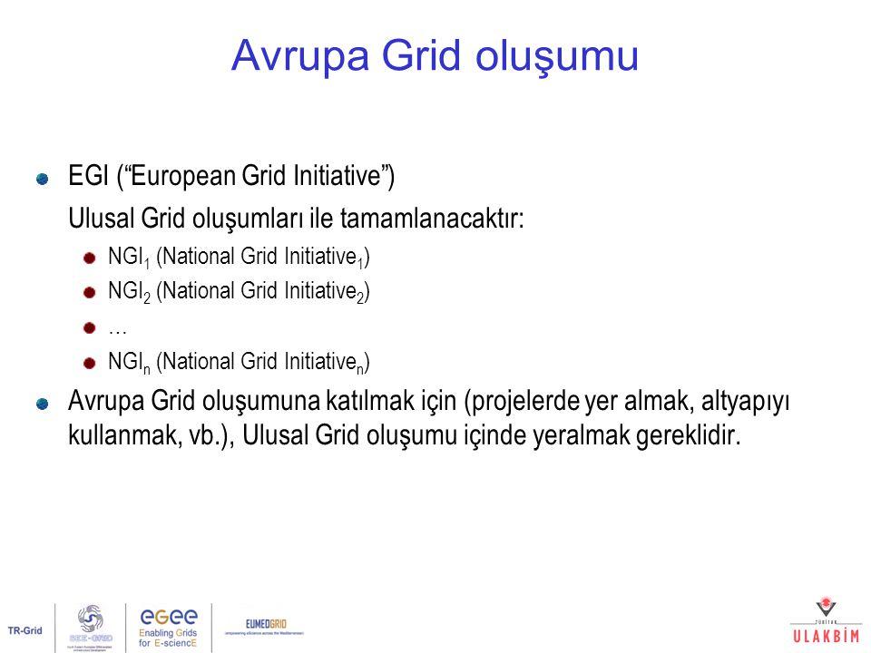 Avrupa Grid oluşumu EGI ( European Grid Initiative ) Ulusal Grid oluşumları ile tamamlanacaktır: NGI 1 (National Grid Initiative 1 ) NGI 2 (National Grid Initiative 2 ) … NGI n (National Grid Initiative n ) Avrupa Grid oluşumuna katılmak için (projelerde yer almak, altyapıyı kullanmak, vb.), Ulusal Grid oluşumu içinde yeralmak gereklidir.
