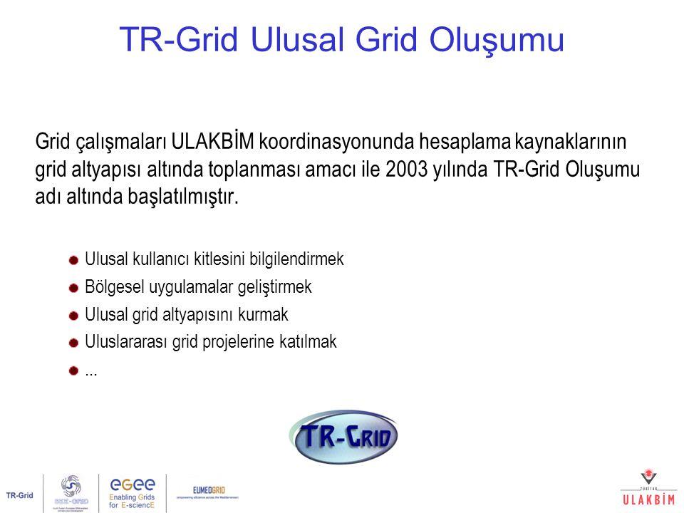 ULUSAL GRID OLUŞUMU Grid çalışmaları ULAKBİM koordinasyonunda hesaplama kaynaklarının grid altyapısı altında toplanması amacı ile 2003 yılında TR-Grid Oluşumu adı altında başlatılmıştır.