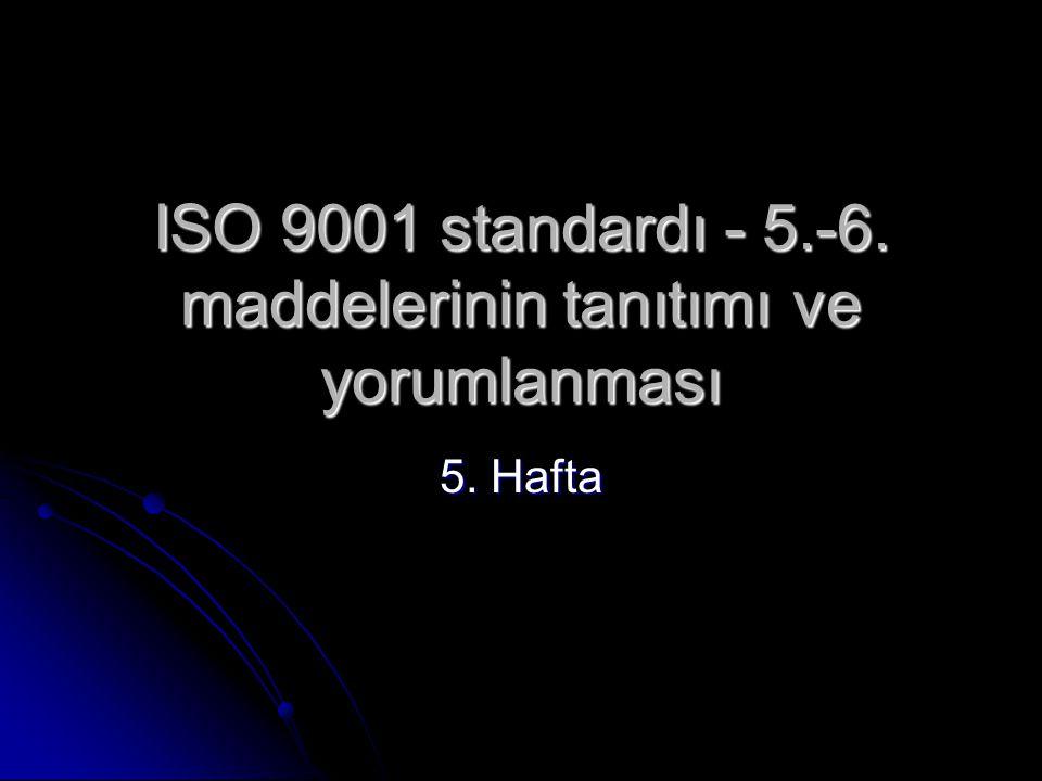 ISO 9001 standardı - 5.-6. maddelerinin tanıtımı ve yorumlanması 5. Hafta