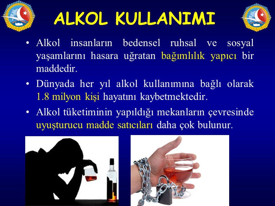 ALKOL KULLANIMI Alkol insanların bedensel ruhsal ve sosyal yaşamlarını hasara uğratan bağımlılık yapıcı bir maddedir. Dünyada her yıl alkol kullanımın