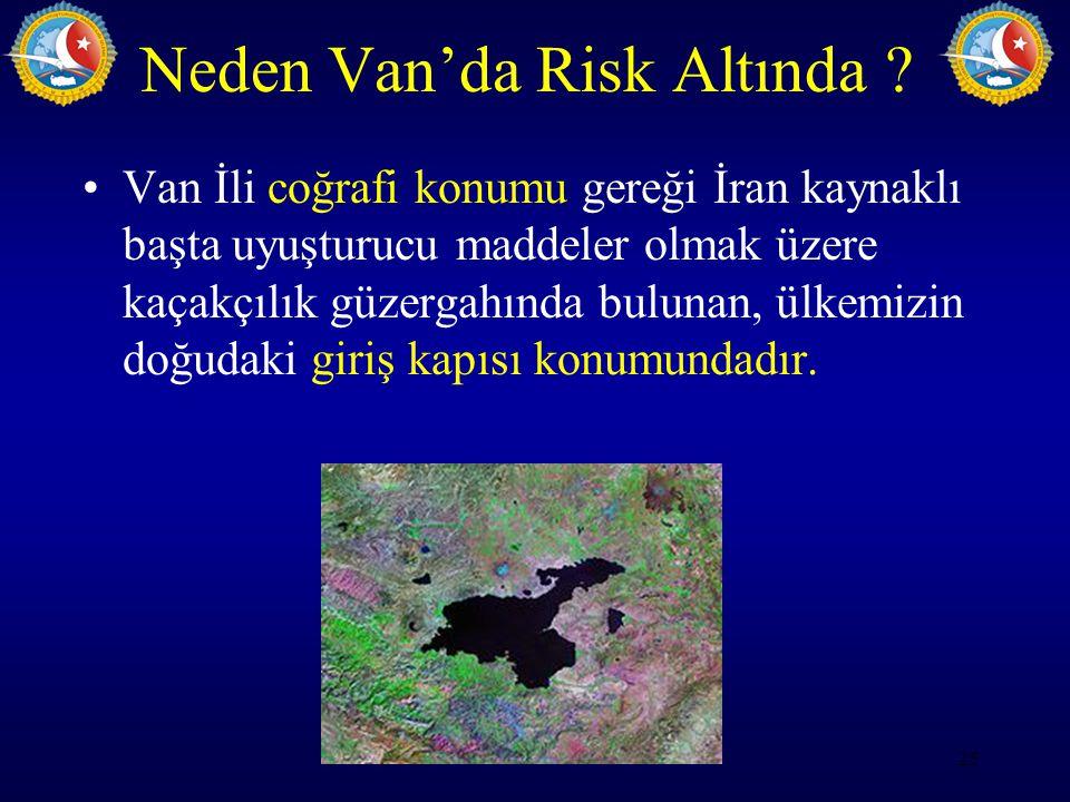 Neden Van'da Risk Altında ? Van İli coğrafi konumu gereği İran kaynaklı başta uyuşturucu maddeler olmak üzere kaçakçılık güzergahında bulunan, ülkemiz