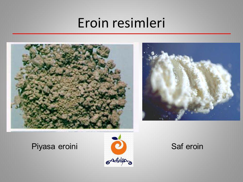 Eroin Açık kahverengi bir toz şeklindedir. Sigaraya sarılabilir, buruna çekilebilir, damar içine verilebilir veya dumanı içe çekilebilir. Çok şiddetli