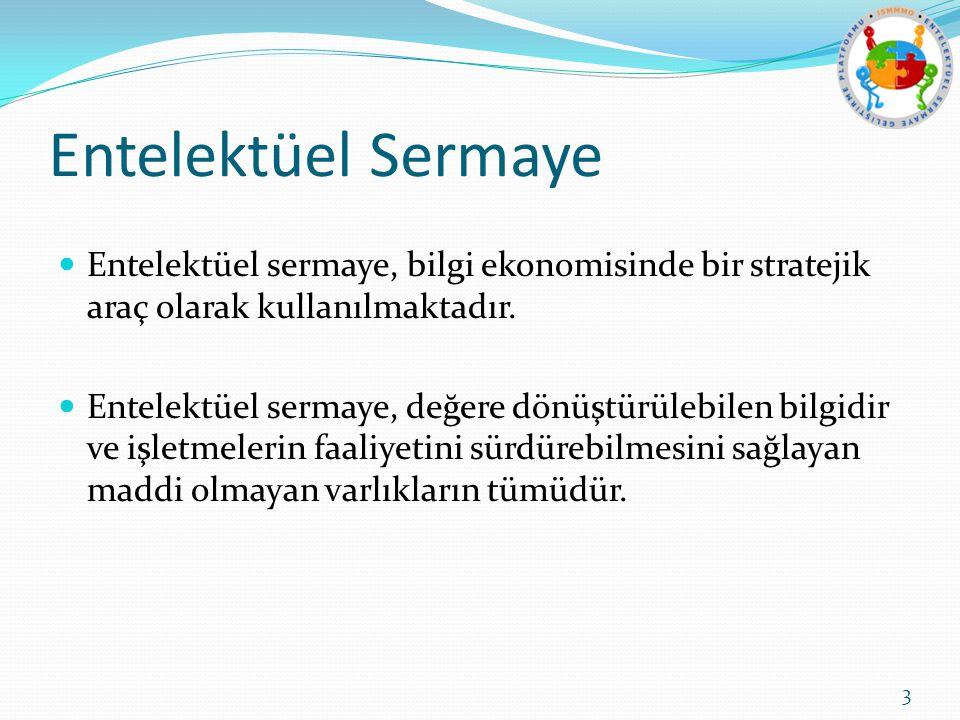 Entelektüel Sermaye Entelektüel sermaye, bilgi ekonomisinde bir stratejik araç olarak kullanılmaktadır. Entelektüel sermaye, değere dönüştürülebilen b