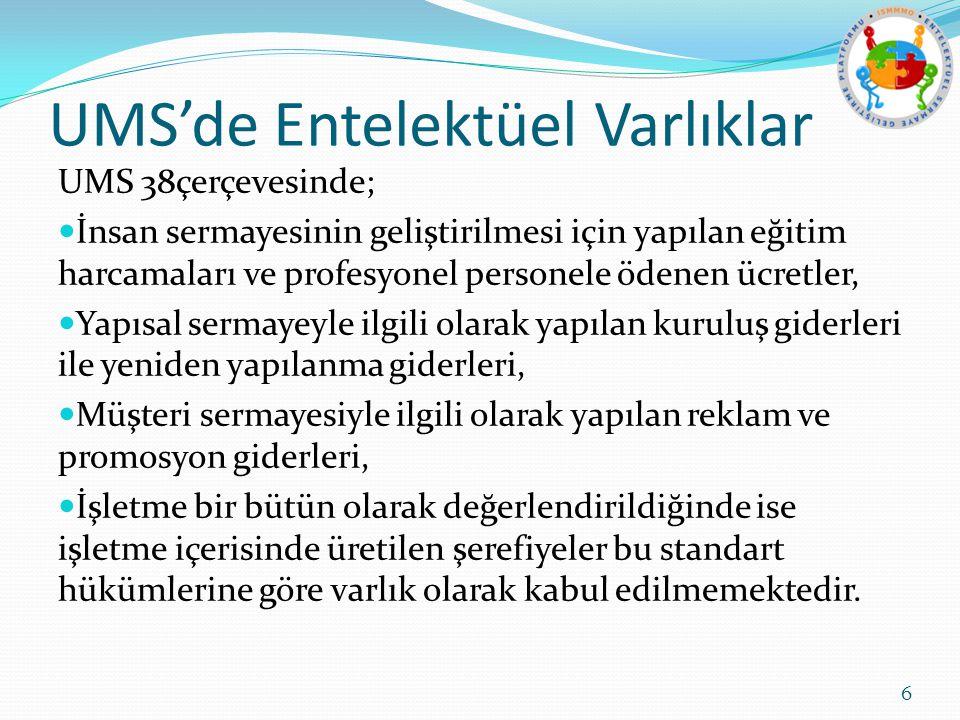 UMS'de Entelektüel Varlıklar UMS 38çerçevesinde; İnsan sermayesinin geliştirilmesi için yapılan eğitim harcamaları ve profesyonel personele ödenen ücr