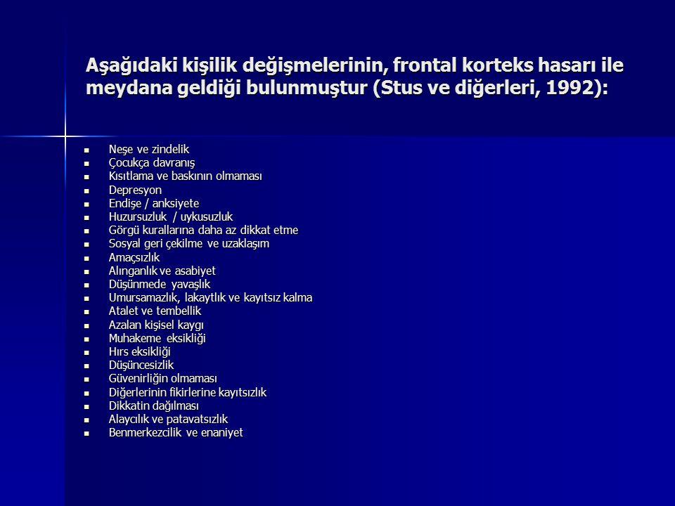 Aşağıdaki kişilik değişmelerinin, frontal korteks hasarı ile meydana geldiği bulunmuştur (Stus ve diğerleri, 1992): Neşe ve zindelik Neşe ve zindelik