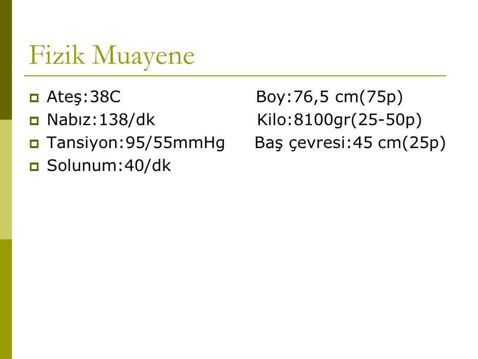 Fizik Muayene  Ateş:38C Boy:76,5 cm(75p)  Nabız:138/dk Kilo:8100gr(25-50p)  Tansiyon:95/55mmHg Baş çevresi:45 cm(25p)  Solunum:40/dk