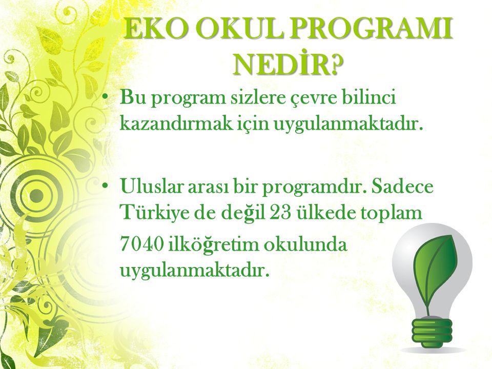 EKO OKUL PROGRAMI NED İ R.Bu program sizlere çevre bilinci kazandırmak için uygulanmaktadır.