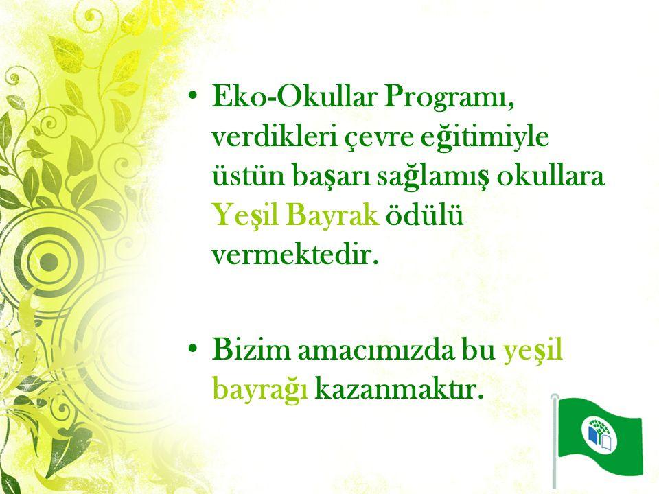 Eko-Okullar Programı, verdikleri çevre e ğ itimiyle üstün ba ş arı sa ğ lamı ş okullara Ye ş il Bayrak ödülü vermektedir.