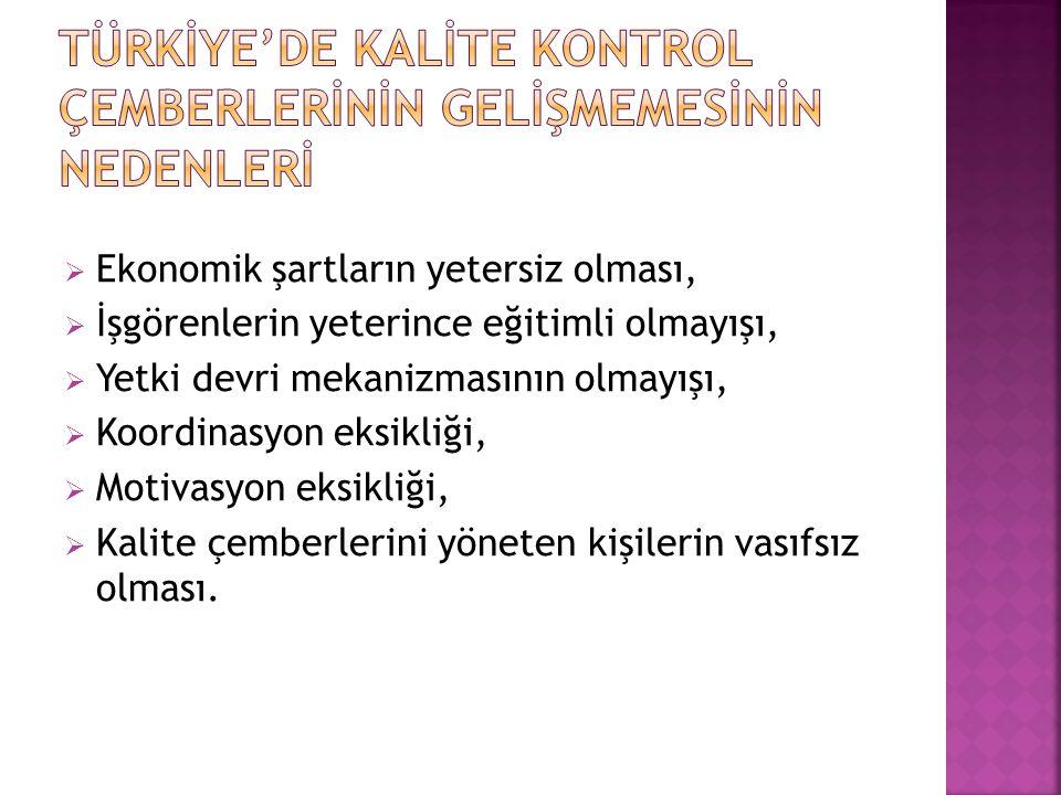  Ekonomik şartların yetersiz olması,  İşgörenlerin yeterince eğitimli olmayışı,  Yetki devri mekanizmasının olmayışı,  Koordinasyon eksikliği,  M