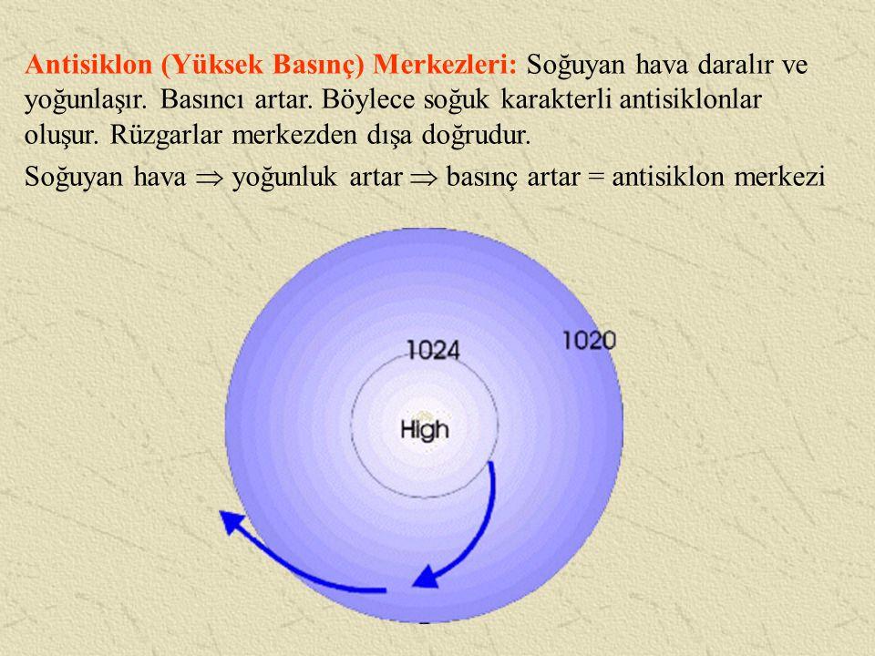 Antisiklon (Yüksek Basınç) Merkezleri: Soğuyan hava daralır ve yoğunlaşır. Basıncı artar. Böylece soğuk karakterli antisiklonlar oluşur. Rüzgarlar mer